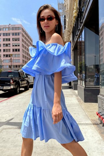 Blue To the Extreme Ruffle Off-the-Shoulder Dress