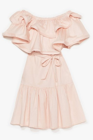 Pink Go to the Extreme Ruffle Off-the-Shoulder Dress