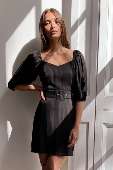 Black Satin Puff Sleeve Belted Mini Dress