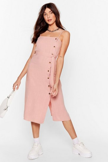 Pink Get in Linen Button Midi Dress