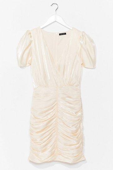 Beige Satin Ruched Mini Dress