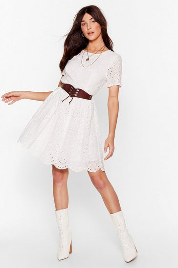 White Lace Go Broderie Anglaise Mini Dress