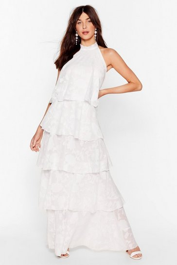 White Shake and Shimmy Layered Maxi Dress
