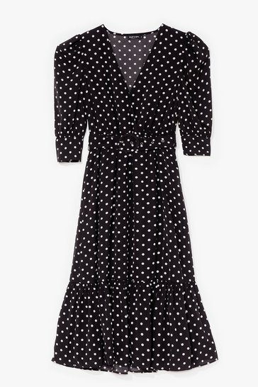 Black Polka Dot Over You Belted Midi Dress