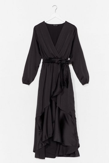 Black Best Dressed Satin Wrap Dress