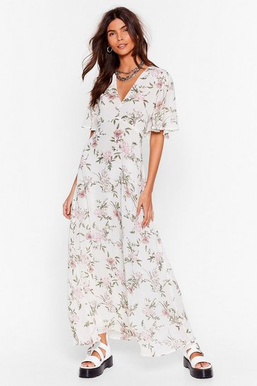 White Take Floral to the Maxi Relaxed Dress