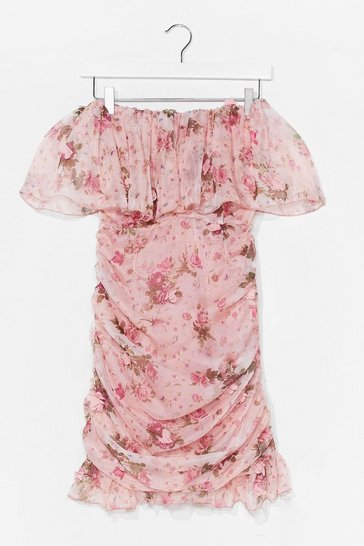 Pink Floral Ruched Ruffle Midi Dress