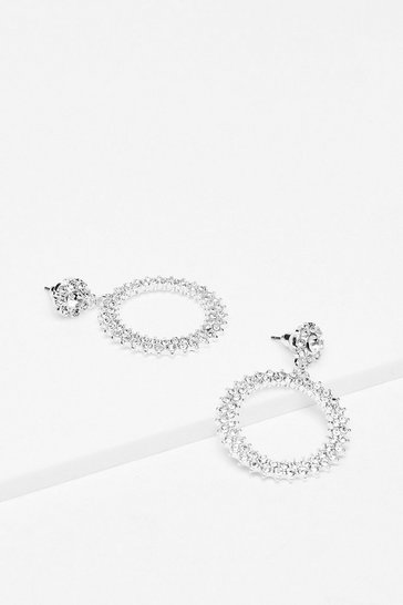 Silver Keep Your Circle Small Diamante Earrings