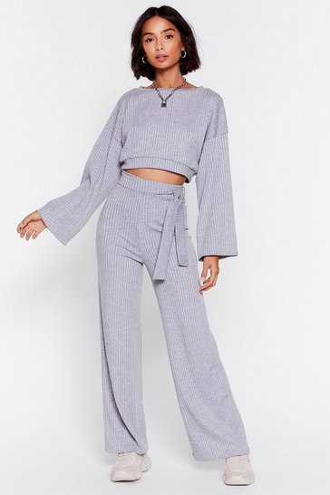 Grey marl Rib's Time to Chill Top and Wide-Leg Pants Set