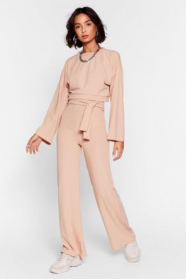 Sand Top and Wide Leg Trousers Ribbed Set