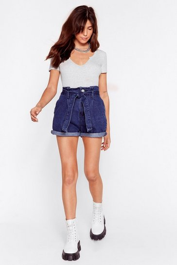 Indigo Turn-Up the Music Paperbag Denim Shorts
