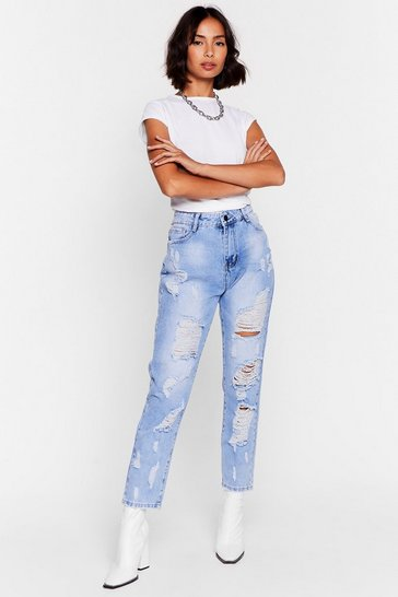 Light blue Here Comes Trouble Distressed Mom Jeans