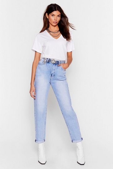 Light blue Mother Knows Best High-Waisted Mom Jeans