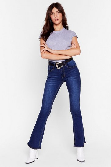 Indigo Flare Our Thoughts Slit High-Waisted Jeans