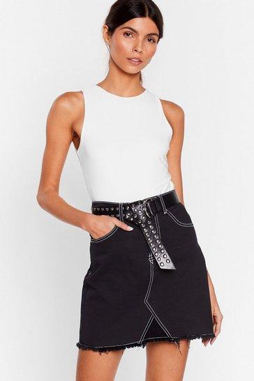 Black Don't Be Such a Stitch Denim Mini Skirt