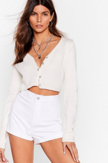 White It's Your Turn-Up High-Waisted Denim Shorts