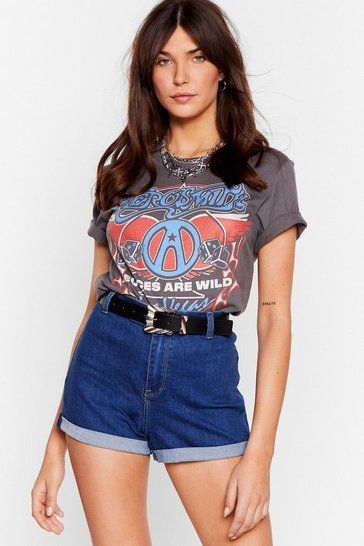 Blue It's Your Turn-Up High-Waisted Denim Shorts