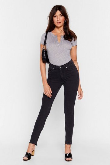 Washed black Have Your Fray High-Waisted Skinny Jeans