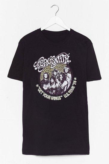 Black Aerosmith Graphic Band Tee Dress