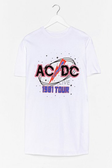 White ACDC Graphic Band Tee Dress