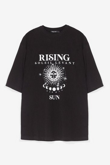 Black Sunset to Sunrise Graphic Tee Dress