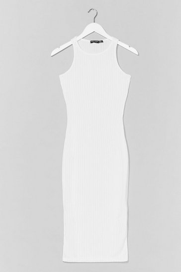 White Recycled We'll Call You Racer Midi Dress