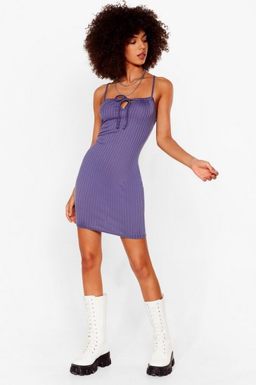 Denim-blue Don't Tie Stop Us Ribbed Mini Dress