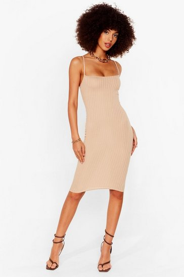 Sand Baby Ribs You Fitted Midi Dress
