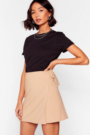 Camel Wrap It Up Buckle Mini Skirt