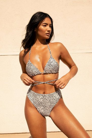 White Two Tone Spot Tie Waist Triangle Bikini Top