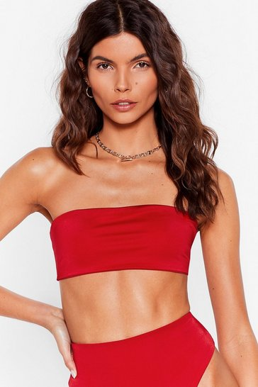 Red Let's Get Salty Bandeau Bikini Top
