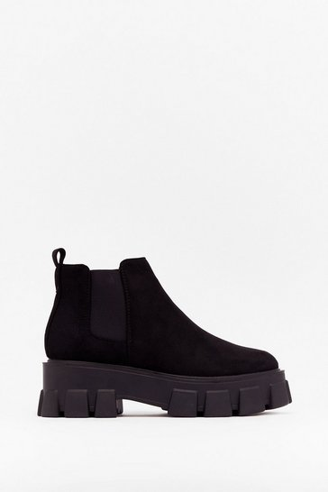Black Sell Your Sole Faux Suede Cleated Boots