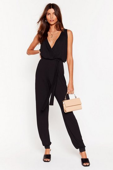 Black Tie It Out V-Neck Belted Jumpsuit