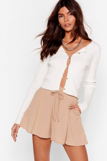Stone Flip a Coin Ribbbed High-Waisted Shorts