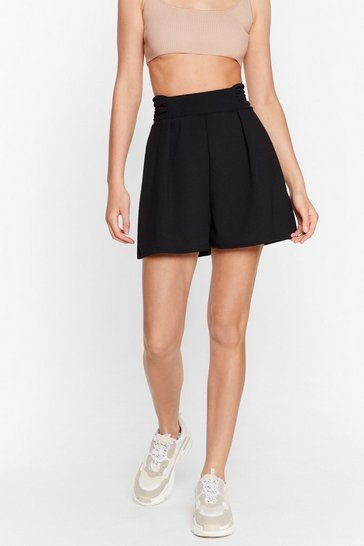 Black High Waisted Ruched Shorts