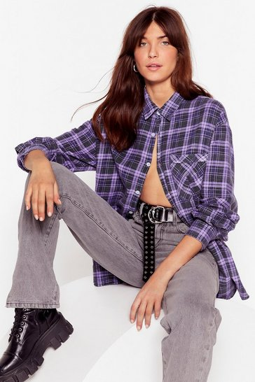Lilac Vintage Check Print Oversized Button Down Shirt