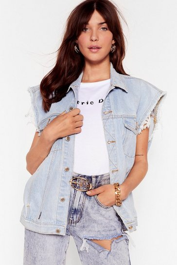 Bleach wash Vintage Oversized Sleeveless Denim Jacket