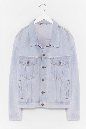 Blue Vintage Bleach Dyed Oversized Denim Jacket