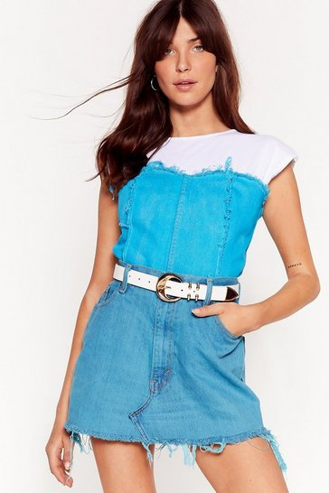 Teal Nasty Gal Vintage On My Fray Denim Corset Top