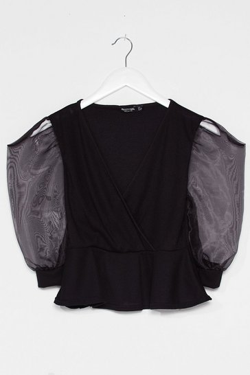 Black Organza Sleeve Ribbed Peplum Top