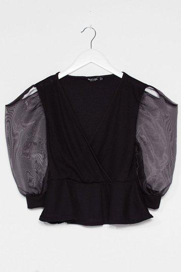 Black Organza Sleeve Ribbed Peplum Top