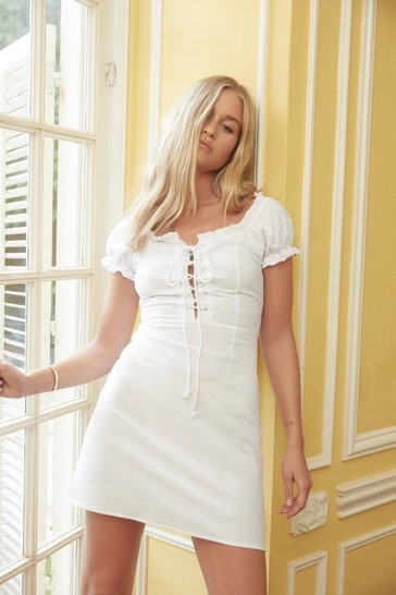 White Puff Sleeve Lace Up Mini Summer Dress