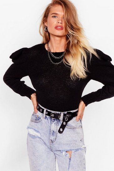 Black Knit's Sweater Weather Puff Sleeve Sweater