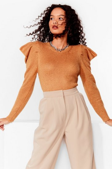 Camel Knit's Sweater Weather Puff Sleeve Sweater
