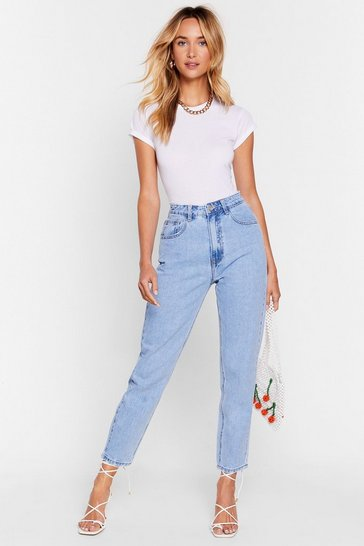 Light blue High Waisted Belt Loop Mom Jeans