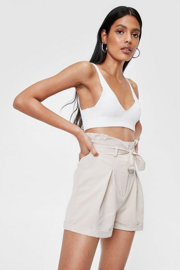 Stone Paperbag Belted High Waisted Shorts
