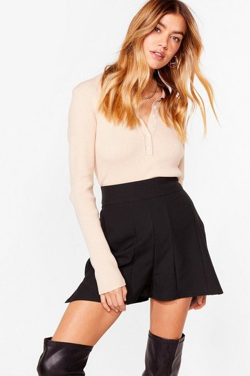 Black Tailored Side Split High-Waisted Shorts
