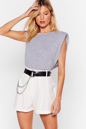 Ecru Pleated High Waisted Tailored Shorts