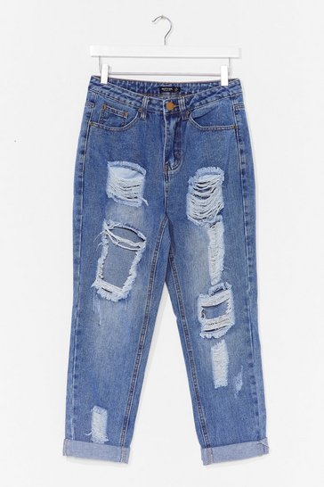 Blue Girl Talk Distressed Short Mom Jeans