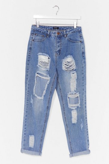 Dark blue Girl Talk Distressed Mom Jean